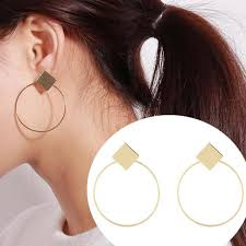 <b>Fashion Geometry</b> Women Ear Hoop Travel Club Jewelry Round ...