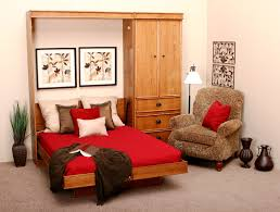 brown wooden murphy bed with bedding bedroom wall bed space saving furniture