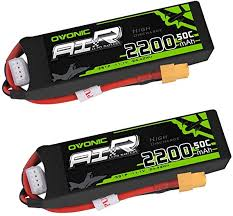 <b>OVONIC</b> 2 Packs <b>3S 11.1V</b> 2200mAh 50C Lipo Battery Pack with ...