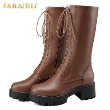<b>SARAIRIS Brand New</b> Plus Size <b>34 43</b> Zip Up Mid Calf Boots ...