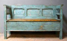 Small Antique Box Settle with Lovely Wooden SeatL 154 cmD 53 ...
