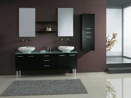 gallery of white bathroom design with tall narrow floating bathroom cabinet made of solid wood in black finished combined with wall mounted vanity sink black and white bathroom furniture