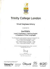 vinod varghese bayt com trinity college london certificate in teaching english to speakers of other language