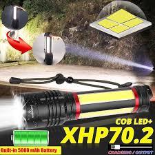 Waterproof LED Flashlight Built-in 5000mAh <b>Lithium Battery</b> XHP70 ...