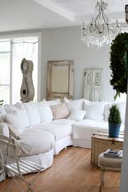 couch slip covers family room shabby chic with cafe chair ceiling lighting chandelier corner sofa cottage chic shabby french style distressed