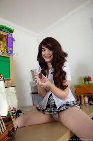 Hairy model Melanie Kate is a naughty schoolgirl