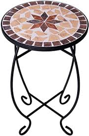 Small round <b>side table mosaic plant</b> stands patio balcony outdoor ...