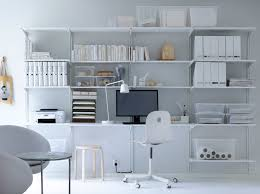 inspiring furniture design of white wall shelves modern home office decoration with white theme complete chic ikea home office