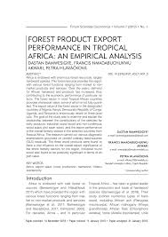 forest product export performance in <b>tropical africa</b>: an empirical ...