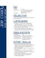 game programmer game programmer resume