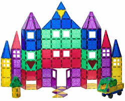 Playmags Clear Colors Magnetic Tiles Deluxe Building <b>Set</b> - 100 + ...