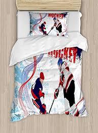 Hockey <b>Luxury</b> 4-Piece <b>Bedding Set</b>,Two <b>Ice</b> Hockey Players in ...