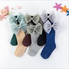 Girls stockings fall winter tube female baby <b>cotton bow lace</b> princess ...