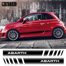 <b>1 Pair</b> 2 Sides <b>Vinyl Car</b> Styling Abarth Side Stripes Skirt Sticker ...
