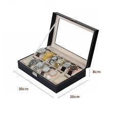 12 <b>Grids Watch</b> Display Storage Box PU Leather Case Holder ...