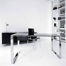 baffling designer desk for home design ideas with rectangle shape glass desk and black silver metal interior cool office desks