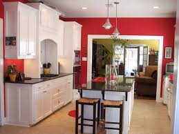 kitchen red cabinets bathroom fixtures bold wall large kitchen island with seating cabinets modern design green apple k