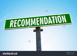 recommendation word on green road sign stock photo  recommendation word on green road sign