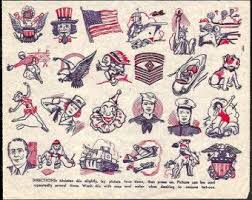 Vintage Tattoos Tat Tatoo Penny <b>Sheet Patriotic</b> Collectible Paper ...