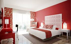 modern bedroom red wall partition