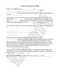 sample power of attorney for child form template permission letter for medical treatment
