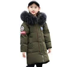 Kid Boys Girls Long <b>White Duck</b> Puffer <b>Down Jacket</b> with Faux Fur ...