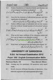 b ed english communication skills paper university of sargodha b ed english communication skills paper university of sargodha annual examination 2012