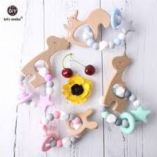 Baby <b>Wooden Beads</b> Silicone Teether Ring Chain for Infant Nursing ...