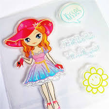 <b>Colorful</b> Blue dress doll <b>Transparent Clear</b> Stamps / <b>Silicone</b> Seals ...