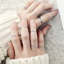 10PCS/SET 2019 Fashion Simple Design anillos <b>Vintage Gold</b> ...