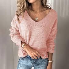 Sexy V Neck Sweater Women Jumper <b>2020 Autumn Off</b> Shoulder ...
