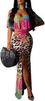 CharmLady <b>Women's Sexy</b> Off Shoulder Dress Ruched Floral Print ...