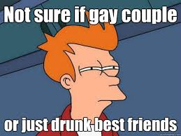 Not sure if gay couple or just drunk best friends - Futurama Fry ... via Relatably.com