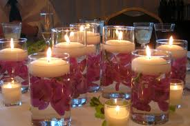 decorations purple lily in watered glass candle design ideas for romantic valentine table inspiring decor candle lighting ideas
