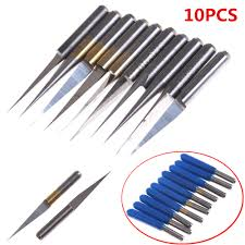 <b>10Pcs 3.175mm</b> Carbide PCB <b>Engraving Bits</b> CNC Router Tool 10 ...