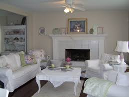 chic living room dcor:  shabby chic living room ideas with fireplace and white sofa with square white table