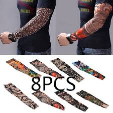 <b>8pcs Set</b> Arts Fake Temporary Tattoo Arm Sunscreen Sleeves ...