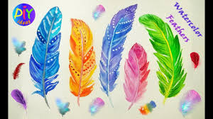 How to Paint <b>Watercolor Feathers</b> - Easy Tutorial - YouTube