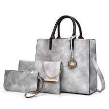 Brand-new Fashioned yet <b>Solid</b> PU Leather Ladies Handbag Set | 3 ...