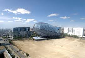 awesome and impressive exterior design of unique egg shaped office building in india awesome shaped office