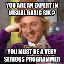You are an expert in Visual Basic six ? You must be a very serious ... via Relatably.com
