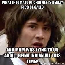 what if tomato ki chutney is really pico de gallo and Mom was ... via Relatably.com