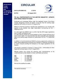 update 2016 motor industry wage negotiations feosa 2016 12 circular memo wage negotiations