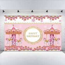 <b>Mehofoto</b> Sweet Carousel <b>Baby Shower Backdrop</b> Little Girl Birthday ...