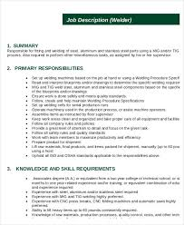 welder job description template description of a welder