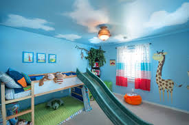 room cute blue ideas: sky ceiling paint jungle wall decal feat loft bed with long slide plus cute window curtain