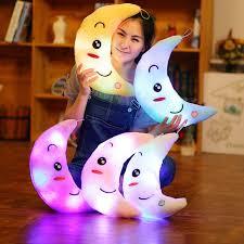 Hot <b>New</b> 35cm Colorful Moon Shape Plush Toys Luminous Glowing ...