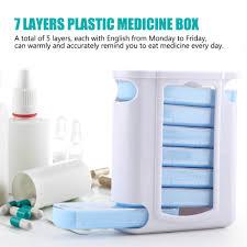 Portable <b>28 Grid</b> 7 Layers <b>Plastic Medicine</b> Drug Storage Box Travel ...