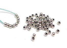<b>Silver Plated</b> Zamak Balls, Small Silver Beads, Silver Metal Rondelle ...
