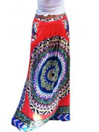 ethnic <b>bohemian printed elastic</b> high <b>waist</b> pocket women beach ...